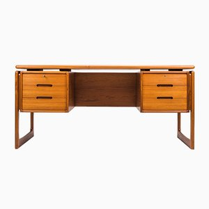 Vintage Teak Solid Teak Desk from Dyrlund, 1960s