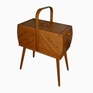 Mid-Century Extendable Wooden Sewing Box