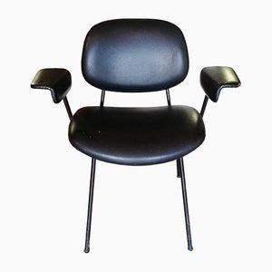 Chaise de Bureau Vintage en Métal Noir et Cuir, Italie, années 80