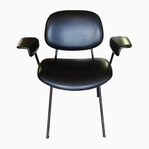 Vintage Italian Black Metal and Leather Desk Chair, 1980s