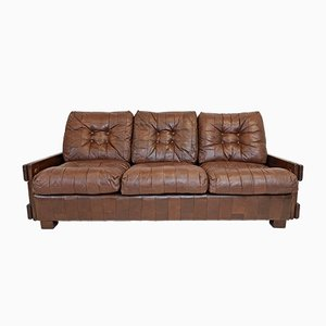 Mid-Century Danish Patchwork Leather 3-Seater Sofa