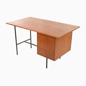 Vintage Italian Walnut Veneer Desk, 1970s