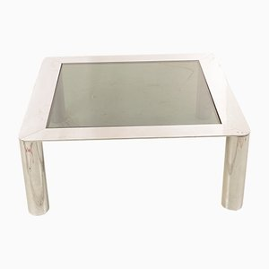 Vintage Italian Satin Metal and Glass Coffee Table, 1970s