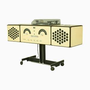 Stereo RR126 in legno bianco e metallo nero di Achille Castiglioni per Brionvega, anni '60