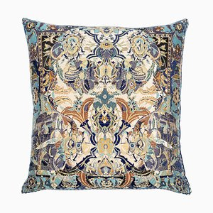 17th Century Modern Skull Blue Cushion