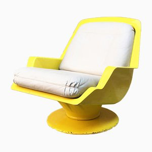 Vintage Space Age Italian Yellow and Beige Leather Lounge Chair, 1970s