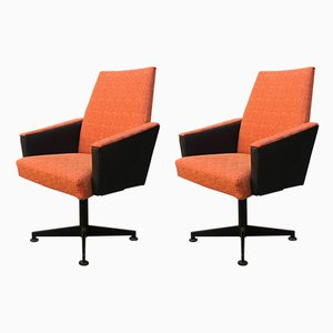 Mid-Century Italian Orange Fabric, Skai, and Metal Swivel Chairs, Set of 2