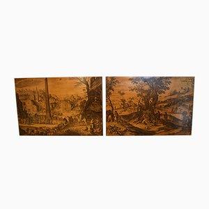 Biombos vintage de madera de Bottega di Victor, años 50. Juego de 2