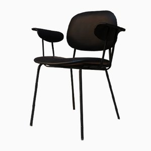Mid-Century Italian Black Leather and Black Enameled Metal Lounge Chair, 1960s