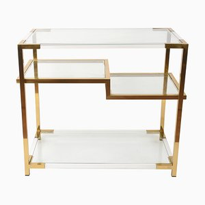 Vintage Italian Lucite, Glass, and Gilded Brass Console Table, 1970s