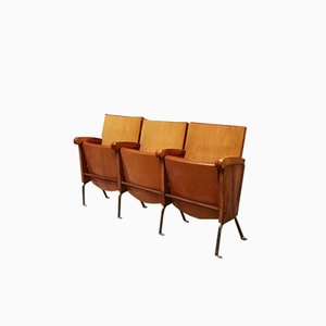 Mid-Century Italian Beech and Iron Cinema Chairs, 1960s