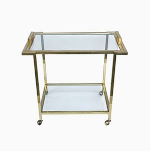 Vintage Italian Gilded Brass and Glass Trolley, 1980s