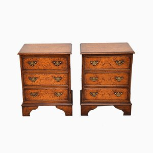 Vintage Burl Walnut Nightstands, 1930s, Set of 2