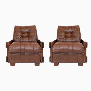 Mid-Century Danish Patchwork Leather Armchairs, 1960s, Set of 2