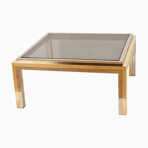 Vintage Italian Smoked Glass, Chrome, and Brass Coffee Table, 1970s
