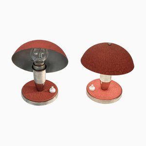 Bauhaus Czech Red Metal and Aluminum Table Lamps, 1930s, Set of 2
