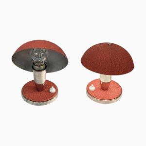 Lámparas de mesa Bauhaus de metal rojo y aluminio, años 30. Juego de 2