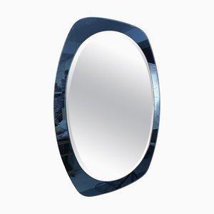 Mid-Century Italian Blue Glass Oval Wall Mirror, 1960s