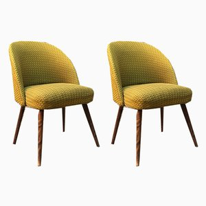 Mid-Century Danish Beech and Green Fabric Lounge Chairs, 1960s, Set of 2