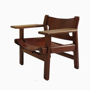 Vintage Leather and Oak Spanish Chair by Børge Mogensen for Fredericia, 1950s