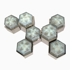 Mid-Century Italian Light Blue Glass Hexagonal Modular Ceiling Lamp from Poliarte,