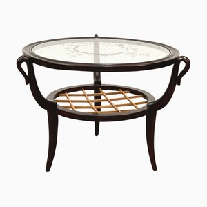 Mid-Century Italian Wood and Glass Round Coffee Table by Gio Ponti, 1950s