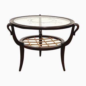 Tavolino da caffè rotondo Mid-Century in legno e vetro di Gio Ponti, Italia, anni '50