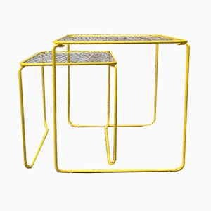 Vintage Italian Yellow Enameled Metal and Glass Coffee Tables, 1970s, Set of 2
