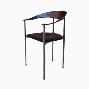 Vintage Italian Black Leather and Chromed Steel Dining Chairs, 1970s, Set of 14