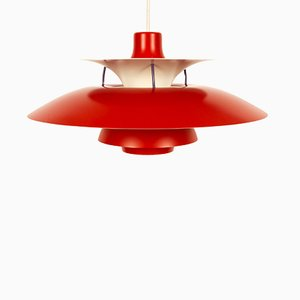 Vintage Danish Red Model PH5 Pendant Lamp by Poul Henningsen for Louis Poulsen, 1970s