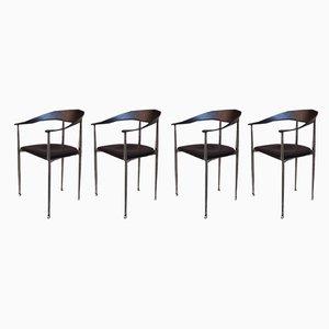 Italienische Vintage Esszimmerstühle aus schwarzem Leder & verchromten Stahl, 1970er, 4er Set
