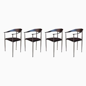 Vintage Italian Black Leather and Chromed Steel Dining Chairs, 1970s, Set of 4