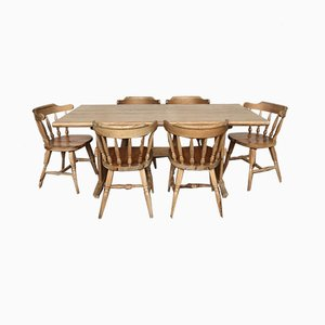 Mid-Century Pinewood Dining Table & Chairs Set, 1950s