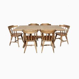 Set de Table et Chaises Mid-Century en Bois de Pin, années 50