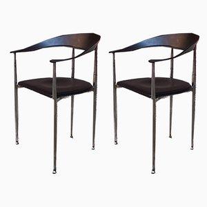 Italienische Vintage Esszimmerstühle aus schwarzem Leder & verchromten Stahl, 1970er, 2er Set