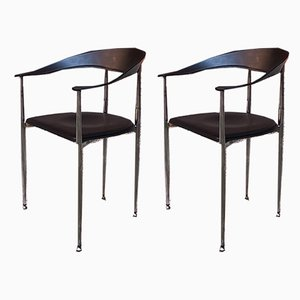 Vintage Italian Black Leather and Chromed Steel Dining Chairs, 1970s, Set of 2