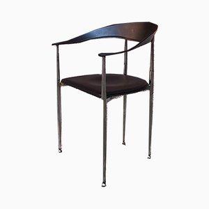 Italienischer Vintage Esszimmerstuhl aus schwarzem Leder & verchromtem Stahl, 1970er