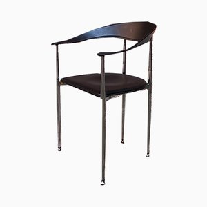 Vintage Italian Black Leather and Chromed Steel Dining Chair, 1970s