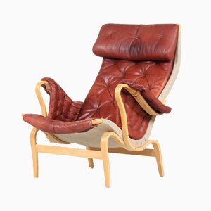 Vintage Red Brown Aniline Leather Model Pernilla Lounge Chair by Bruno Mathsson for Dux, 1980s