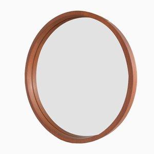 Mid-Century Scandinavian Round Teak Mirror, 1960s