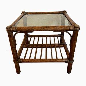 Mid-Century Beistelltisch aus Bambus & Glas