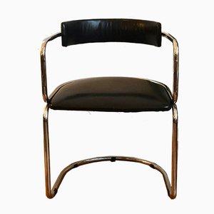 Sedia da scrivania cantilever in metallo cromato e pelle, anni '60