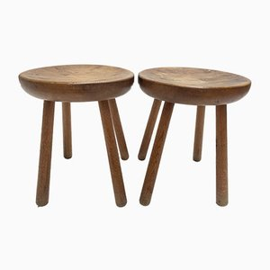 French Solid Pinewood Stools by Charlotte Perriand, 1960s, Set of 2