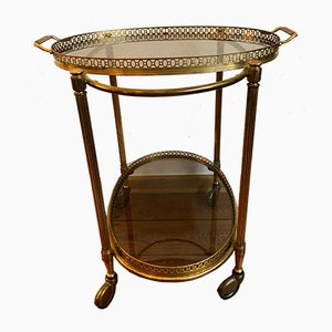 Vintage Golden Brass and Glass Trolley, 1960s