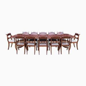 Vintage Regency Esstisch & Stühle aus Mahagoni