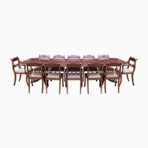 Vintage Regency Style Mahogany Dining Table and Chairs Set