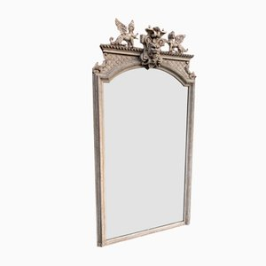 Large Antique French Carved Wood and Gesso Mirror