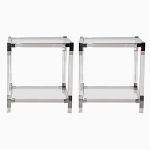 Hollywood Regency Lucite and Glass Side Tables, 1980s, Set of 2