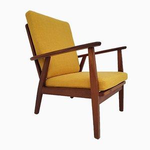 Vintage Danish Solid Teak Armchair, 1970s