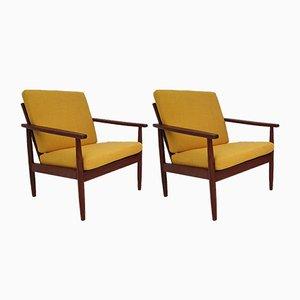 Vintage Danish Solid Teak Armchairs, 1960s, Set of 2